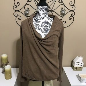Kokoon Wrap Cowl Neck Brown Blouse XS